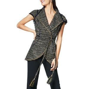 Ramy Brook Emersyn Belted Tweed V-Neck Gold Vest